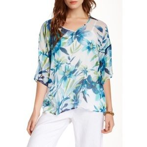 {Tommy Bahama} Iolani Floral Silk Blouse